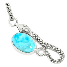 3.64cts natural blue larimar 925 sterling silver snake pendant jewelry r78599