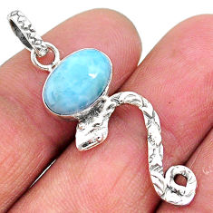 3.91cts natural blue larimar 925 sterling silver snake pendant jewelry t11083