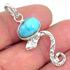 3.94cts natural blue larimar 925 sterling silver snake pendant jewelry t11087