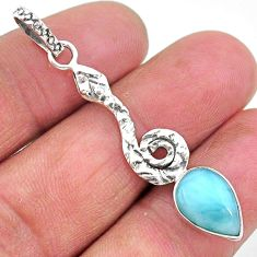 3.95cts natural blue larimar 925 sterling silver snake pendant jewelry t11091