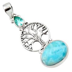 10.06cts natural blue larimar 925 sterling silver tree of life pendant r43762
