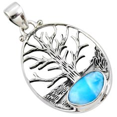 3.72cts natural blue larimar 925 sterling silver tree of life pendant r53010