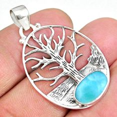2.96cts natural blue larimar 925 sterling silver tree of life pendant r90423