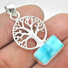 5.82cts natural blue larimar 925 sterling silver tree of life pendant t56621