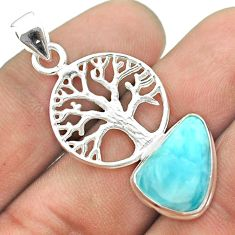 6.04cts natural blue larimar 925 sterling silver tree of life pendant t56650