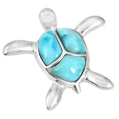 Natural blue larimar 925 sterling silver turtle pendant jewelry a56915 c14012