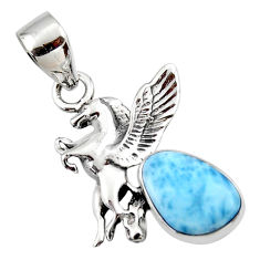 4.43cts natural blue larimar 925 sterling silver unicorn pendant jewelry r48327