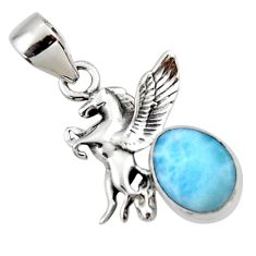 4.08cts natural blue larimar 925 sterling silver unicorn pendant jewelry r48331