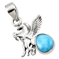 3.83cts natural blue larimar 925 sterling silver unicorn pendant jewelry r48332
