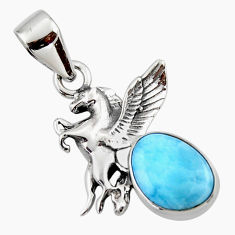 4.43cts natural blue larimar 925 sterling silver unicorn pendant jewelry r48334