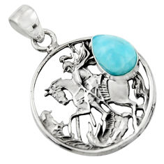 4.67cts natural blue larimar 925 sterling silver unicorn pendant jewelry r52741
