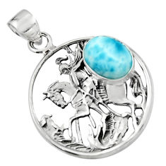 4.50cts natural blue larimar 925 sterling silver unicorn pendant jewelry r52742