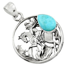 4.99cts natural blue larimar 925 sterling silver unicorn pendant jewelry r52763