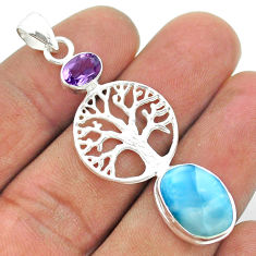 7.54cts natural blue larimar amethyst 925 silver tree of life pendant t56599