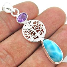 8.80cts natural blue larimar amethyst 925 silver tree of life pendant t56606