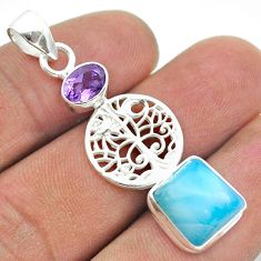 7.57cts natural blue larimar amethyst 925 silver tree of life pendant t56609