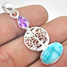 7.62cts natural blue larimar amethyst 925 silver tree of life pendant t56635