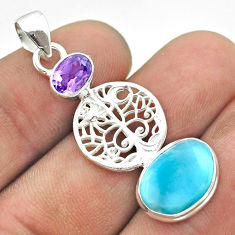 7.97cts natural blue larimar amethyst 925 silver tree of life pendant t56641