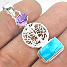 7.96cts natural blue larimar amethyst 925 silver tree of life pendant t56656