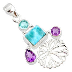 6.84cts natural blue larimar amethyst 925 sterling silver flower pendant r78365