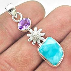 8.87cts natural blue larimar amethyst 925 sterling silver flower pendant t56649