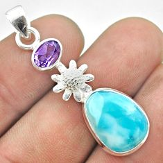 8.31cts natural blue larimar amethyst 925 sterling silver flower pendant t56664