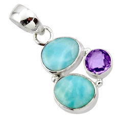 8.86cts natural blue larimar amethyst 925 sterling silver pendant jewelry r44551