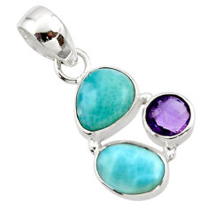 8.73cts natural blue larimar amethyst 925 sterling silver pendant jewelry r44553
