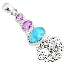 8.54cts natural blue larimar amethyst 925 silver handmade pendant r78362
