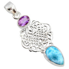 5.87cts natural blue larimar amethyst 925 silver handmade pendant r78367