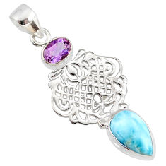 6.53cts natural blue larimar amethyst 925 silver handmade pendant r78378