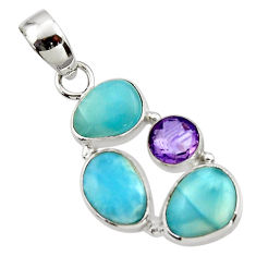 10.85cts natural blue larimar amethyst 925 sterling silver pendant r44548