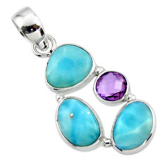 11.73cts natural blue larimar amethyst 925 sterling silver pendant r44554