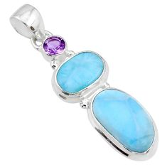 14.26cts natural blue larimar amethyst 925 sterling silver pendant r72976