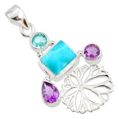 6.31cts natural blue larimar amethyst topaz 925 silver pendant jewelry r78383