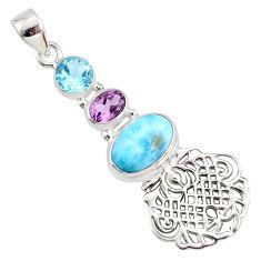 8.80cts natural blue larimar amethyst topaz 925 sterling silver pendant r78385