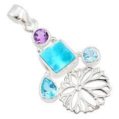 7.88cts natural blue larimar amethyst topaz 925 sterling silver pendant r78391