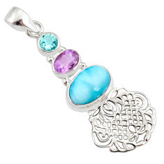 8.80cts natural blue larimar amethyst topaz 925 sterling silver pendant r78395