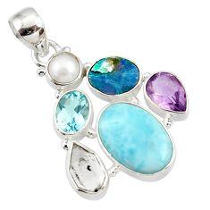 18.15cts natural blue larimar doublet opal australian 925 silver pendant d43745