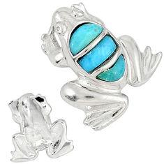 Natural blue larimar fancy 925 sterling silver frog pendant a32829 c15352