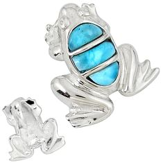 Natural blue larimar fancy 925 sterling silver frog pendant a32831 c15347