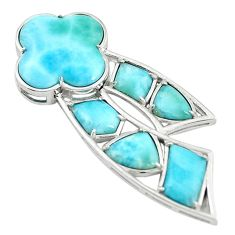 Natural blue larimar fancy 925 sterling silver pendant jewelry a68789 c13985