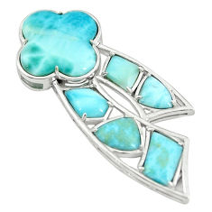Natural blue larimar fancy 925 sterling silver pendant jewelry a68792 c14000