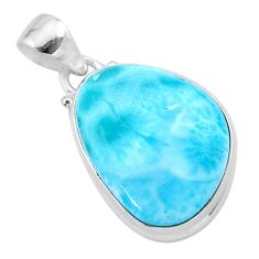 16.06cts natural blue larimar fancy 925 sterling silver pendant jewelry t24406