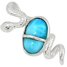 Natural blue larimar fancy 925 sterling silver snake pendant a32897 c15390