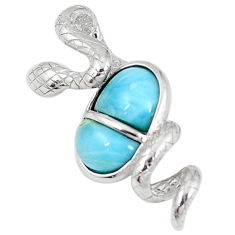 Natural blue larimar fancy 925 sterling silver snake pendant a60673 c15385