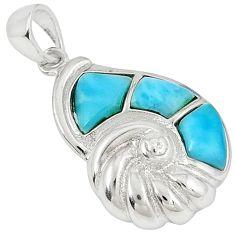 Natural blue larimar fancy topaz 925 sterling silver pendant a32885 c14127