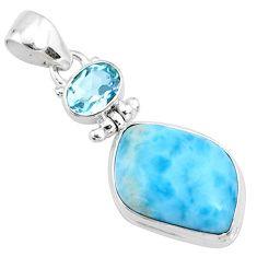 16.20cts natural blue larimar fancy topaz 925 sterling silver pendant r73308