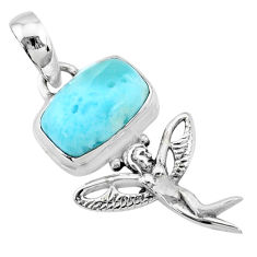 3.90cts natural blue larimar octagan silver angel wings fairy pendant r72341