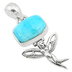 4.00cts natural blue larimar octagan silver angel wings fairy pendant r72400
